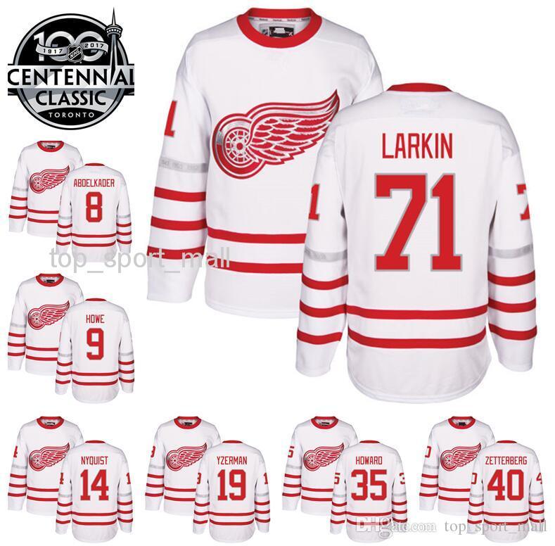 2019 2017 Centennial Classic Jerseys Hockey 100th Anniversary Detroit Red  Wings 71 Dylan Larkin 9 Gordie Howe 19 Steve Yzerman 13 Pavel Datsyuk From  ... 2bf2987f7