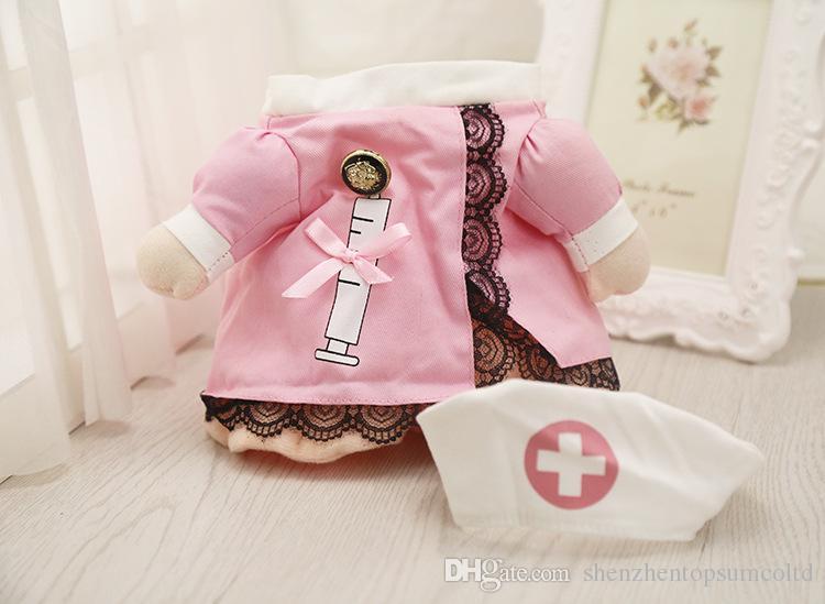 재미 있은 간호사 양복 애완 동물 의상 개 옷 애완용 고양이 코트 파티 의류 핫 강아지 간호사 유니폼 + 모자 복장