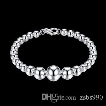 Gratis frakt 925 Silver Pärlor Armband Mode Smycken Charm Bangles 21cm 10st