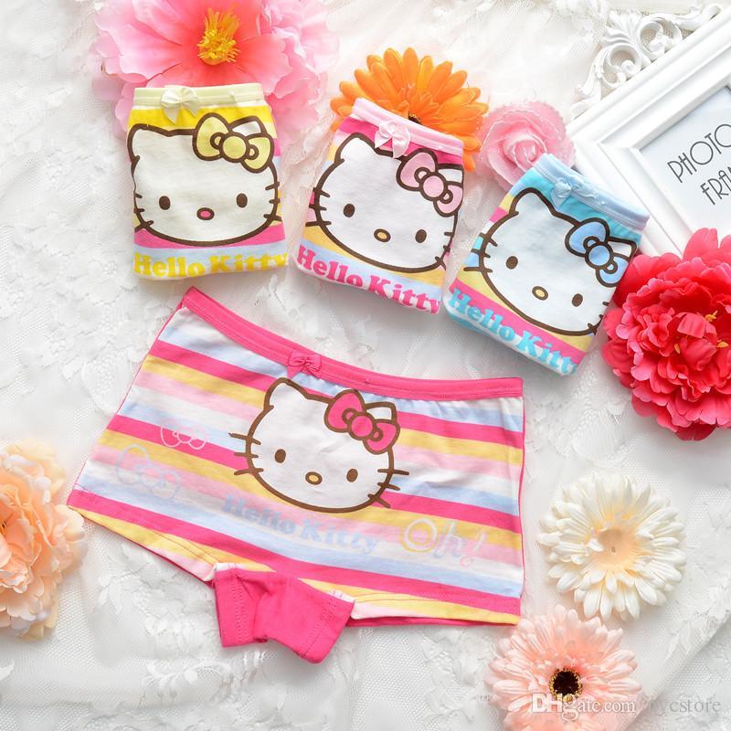 2017 Fashion Cartoon Hello Kitty Mickey Baby Girls Underwear Cotton Panties For Girls Kids Short Briefs Children Boxers Underpants