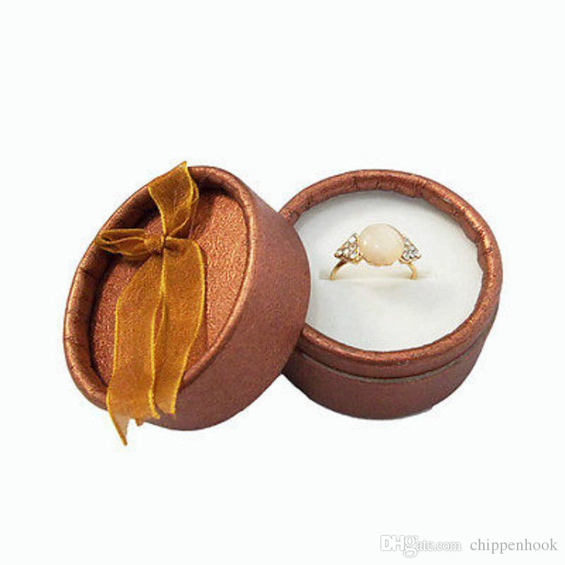 Wholesale Cute Small Round Paper Jewelry Display Ribbon Box Available Ring Storage Organizer Display Gift Box 5*3.5 cm