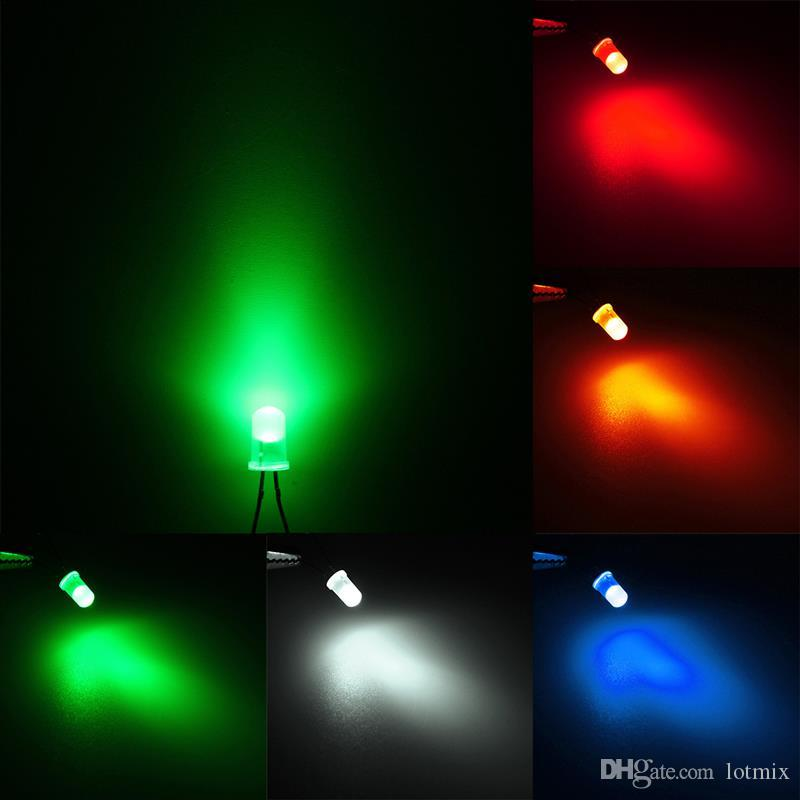 جودة عالية 50 قطع 5 ملليمتر جولة الأعلى اللون منتشر الصمام الخفيفة البعث ديود مصباح حلو كيت مجموعة الأحمر / الأخضر / الأزرق / الأصفر / الأبيض
