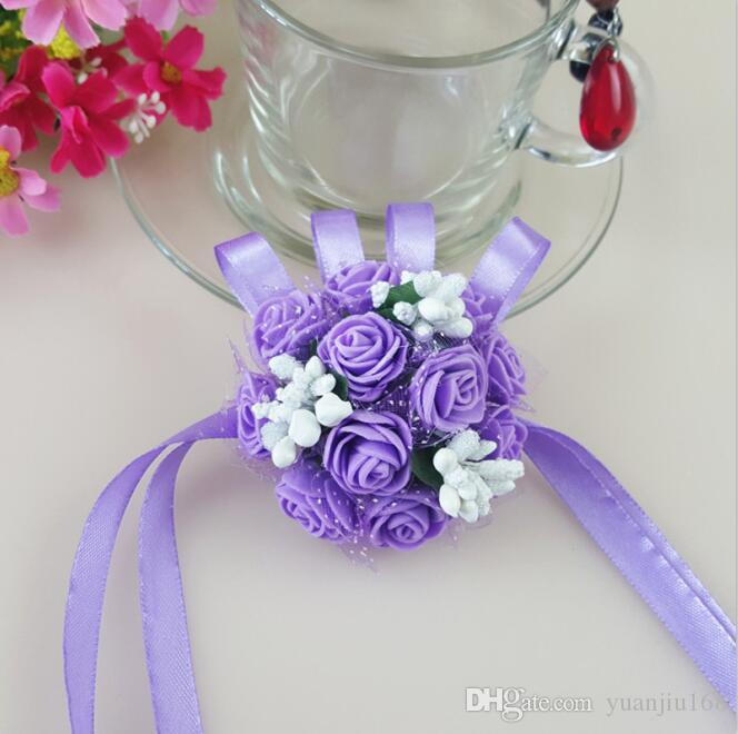 الأخوات زهرة المعصم وصيفه الشرف اليد المعصم الاصطناعي الزهور زهور الزفاف الديكور زهرة