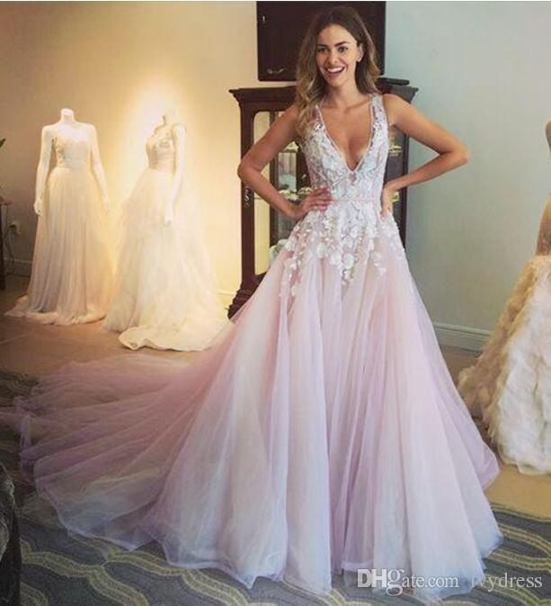 V Neck Prom Dresses 2018 Pink Tulle Appliques Sexy Fancy Special