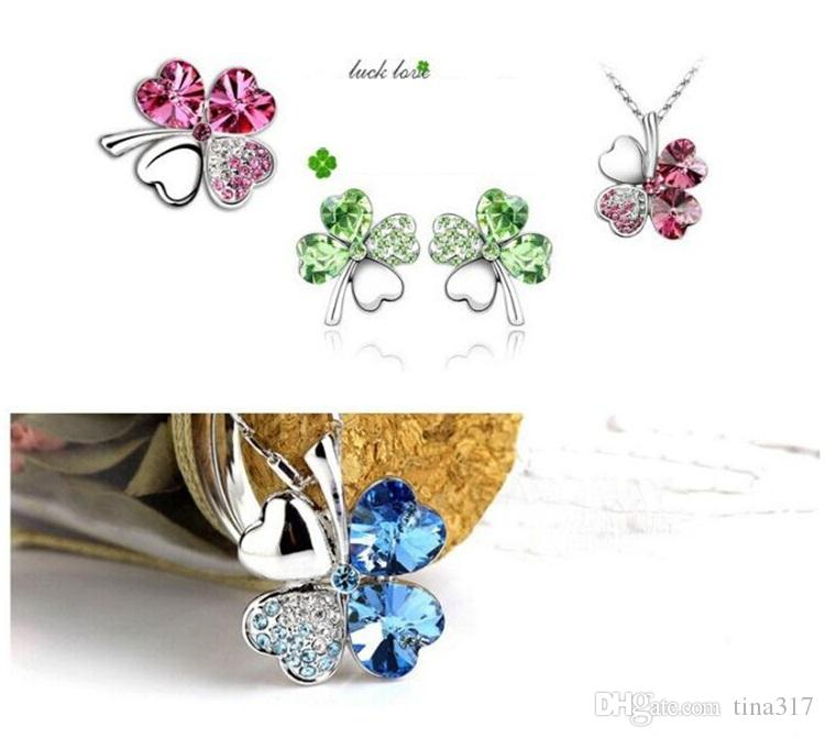 Mode pétale colliers collier trèfle à quatre feuilles top grade diamant collier cristal multicolore strass collier pendentif Colliers 2337-2