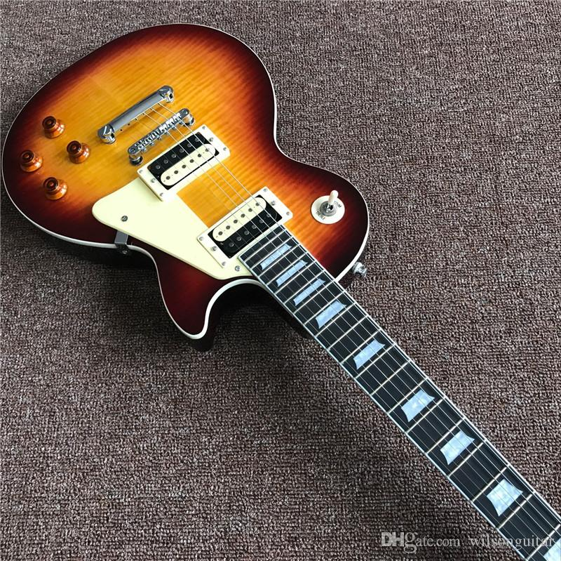 Vendendo! A guitarra elétrica padrão de alta qualidade, sunburst cor, mogno OEM custom shop guitarra elétrica, pode ser um monte de personalização,