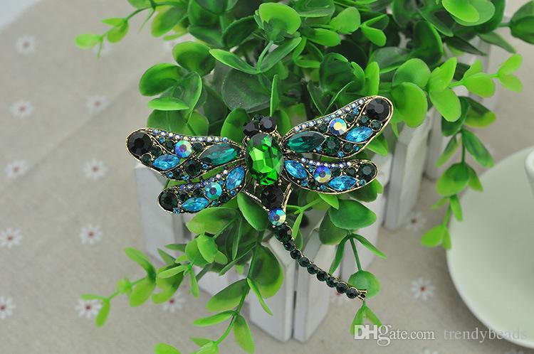 95mm* 75mm Dragonfly Brooch, Big Crystal Dragonfly Brooch ,Bridal Dress Pin Bouquet Cake Decor DIY Supplies Dragonflies Rhinestone Brooch