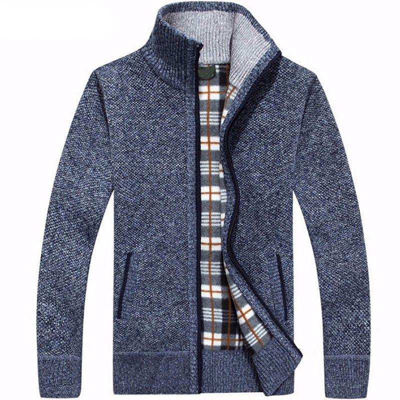 Sweaters Men Winter Cardigan Warm Thick Velvet Cashmere Zipper Mandarin Collar Man Casual Clothes Pattern Knitwear Big Size 3xl