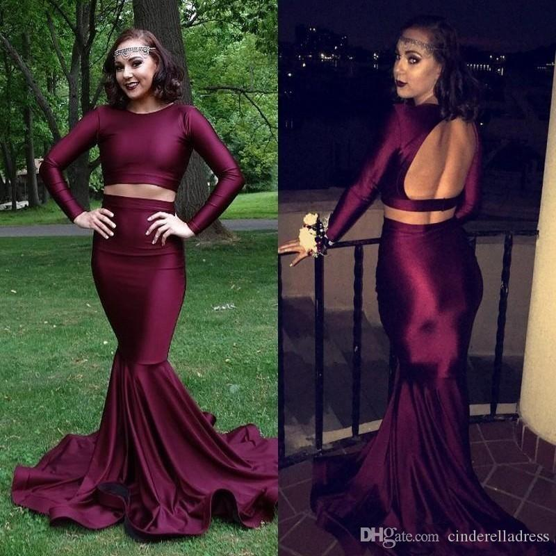 2017 Dark Red Two Pieces Mermaid Evening Dresses With Jewel Neck Long Sleeves Keyhole Backless Sweep Train Prom GOwns