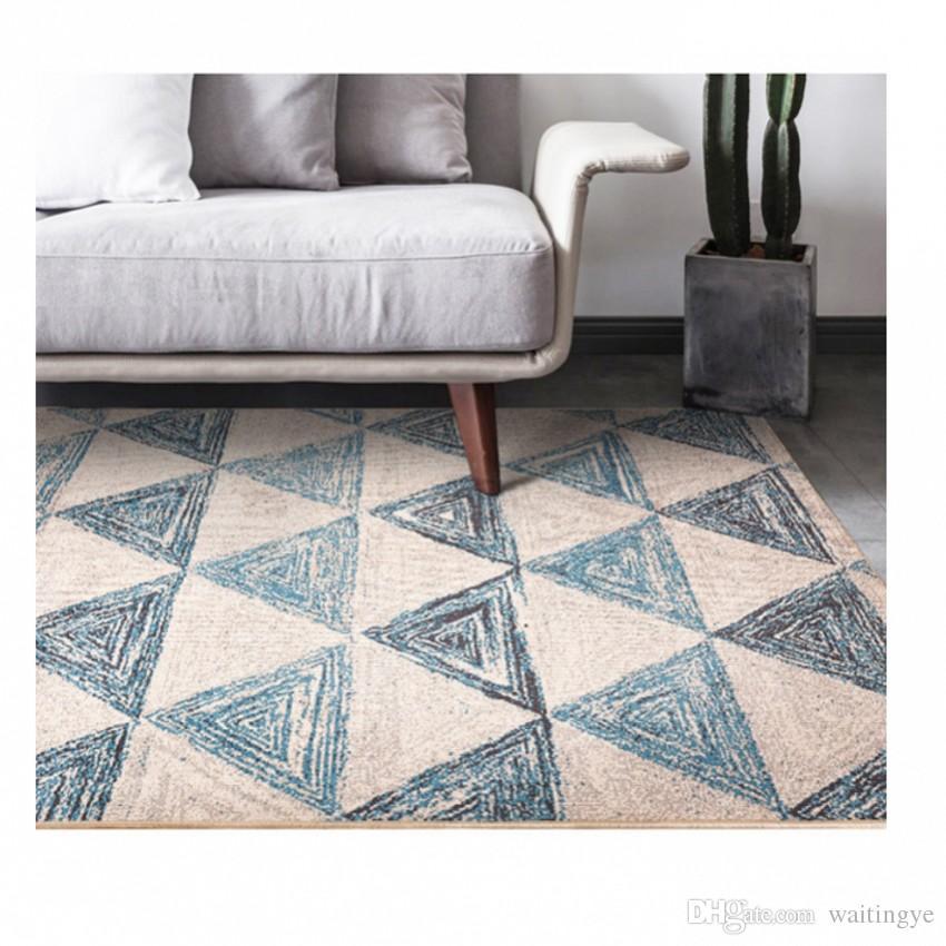 compre alfombra azul de la mezcla geométrica blanca del estilo
