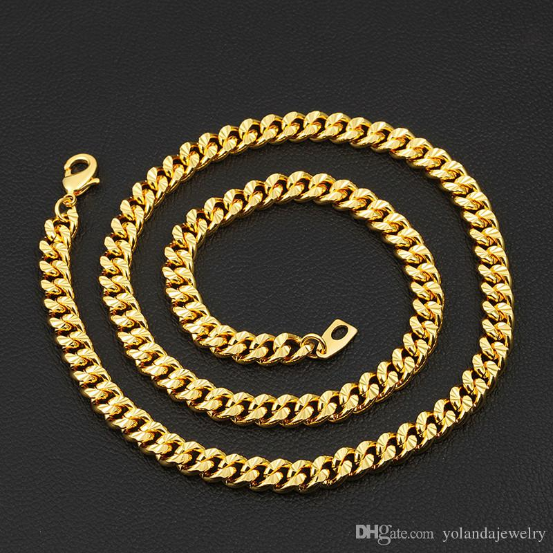 18K Yellow Gold Plated Men Chain Width 7MM 46CM- 81CM Length Chain Necklace for Boy Friend Husband Nice Jewelry Gift