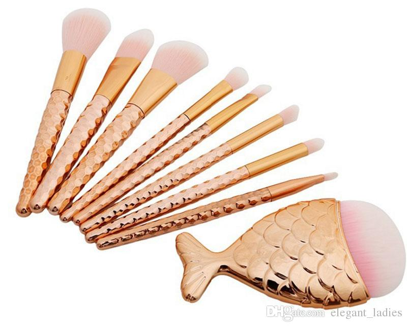 8 adet = Denizkızı kuyruk Büyük balık kuyruğu Makyaj Fırçalar Vakfı far anahat Fırçalar
