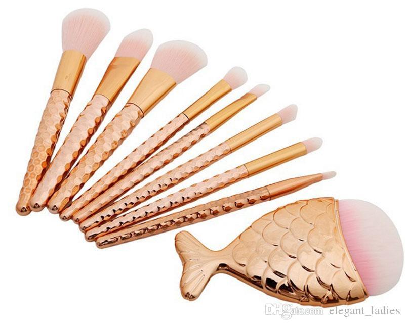 8 unids = 1 Unidades sirena cola grande pescado cola cosmética Cepillos Fundación sombra de ojos contorno Cepillos