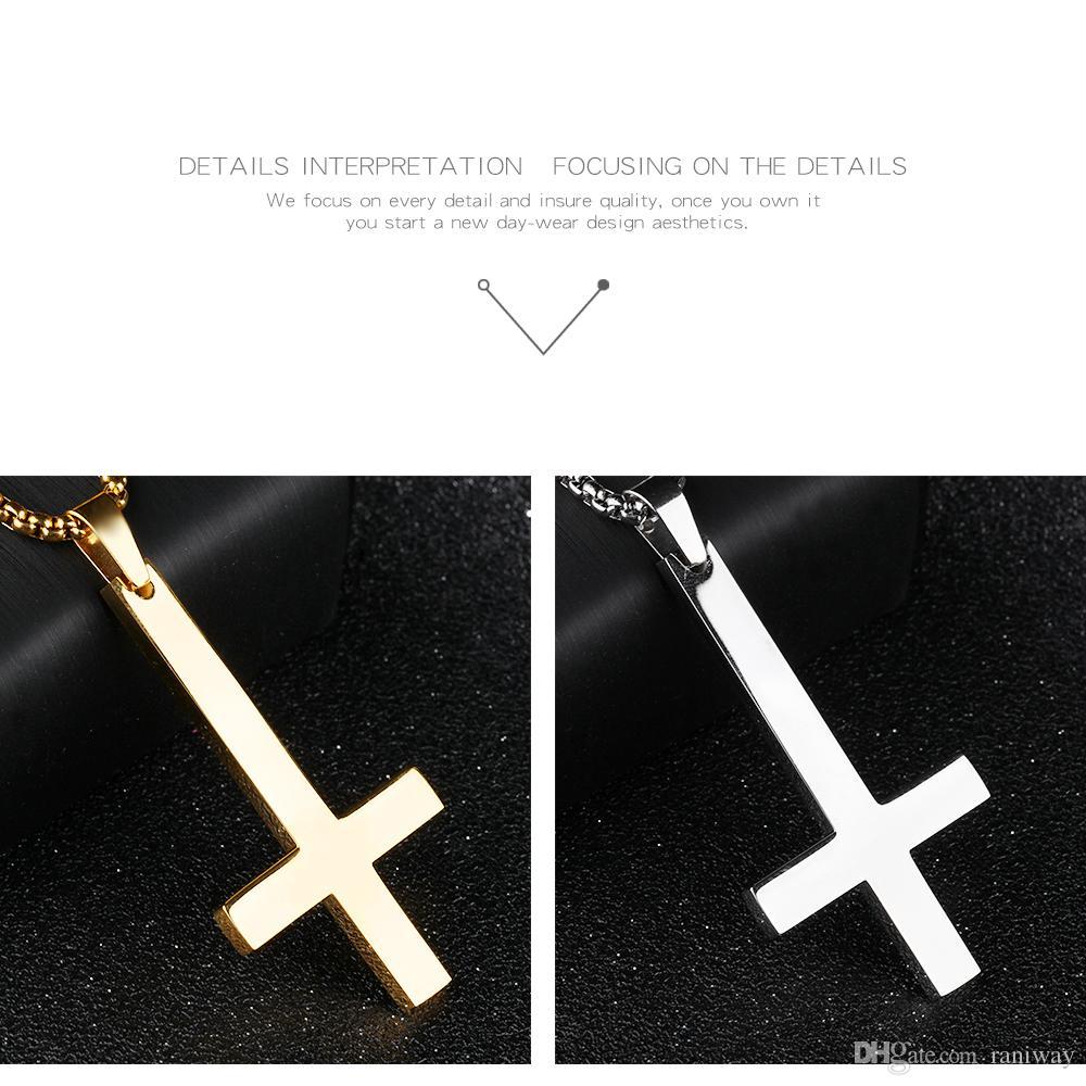 Collana di pendente trasversale inversa rovesciata d'acciaio inossidabile antica unica degli uomini alto regalo religioso polacco dei gioielli da 21.6 pollici alti