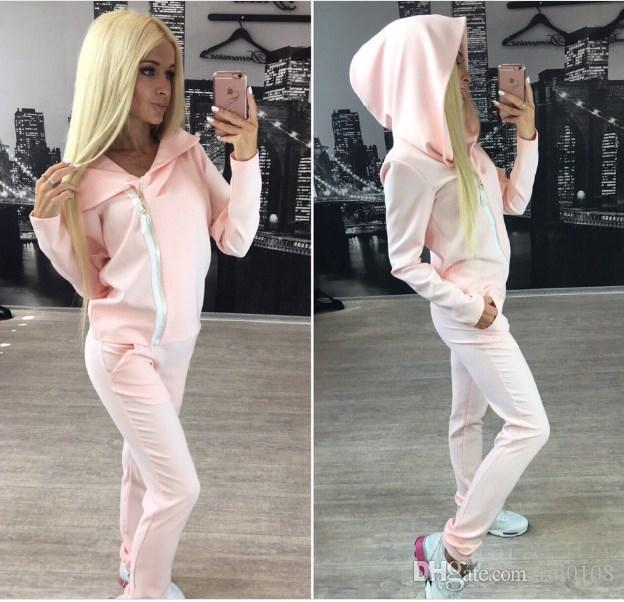 Tracksuits New Direct Selling Cotton Full Zipper Hooded Europe And The 2017 Fashion Casual Street Girl Wind Lady Suit