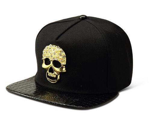 2019 Bling Diamond Ghost Cotton Snapback Hats Men Women Gorras Golf Bone  Golden Skull Head Baseball Caps Sports Crymen Gorras DJ Rap Snapback Hat  From ... 6e5ef24b3913