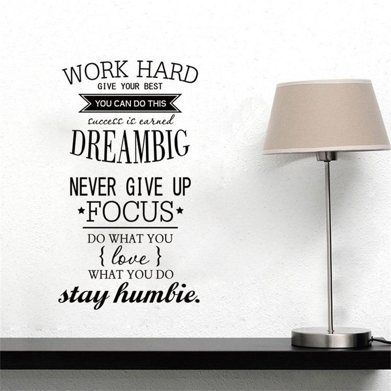 57x32cm English Motto Work Hard Family Motto Wall Sticker ...