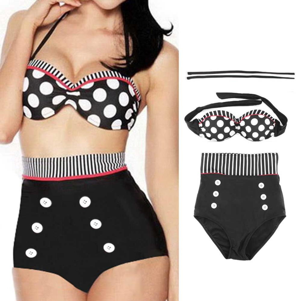 9842ae4082530 2019 Women Girl High Waist Bikini Sets RETRO Pinup Rockabilly Vintage Sexy Swimsuit  Swimwear Push Up Bathing Suit Beachwear Hot Sale From Zhang110119