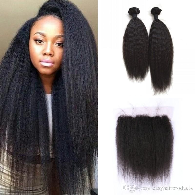 a584dfee2da22d 13x4 Silk Base Frontal With Hair Bundles Peruvian Kinky Straight Human Hair  Weaves Wefts Of Human Hair Wefted Human Hair From Easyhairproducts