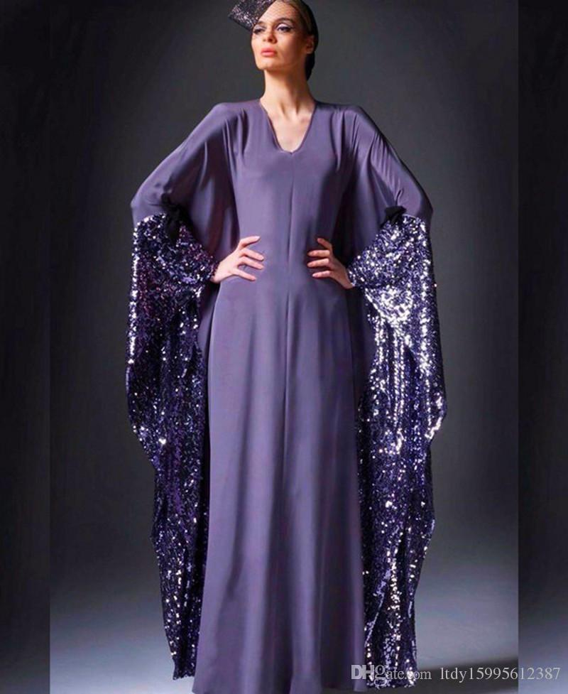 2017 Purple V Neck Saudi Arabia Evening Dresses A Line Dubai Kaftan ...