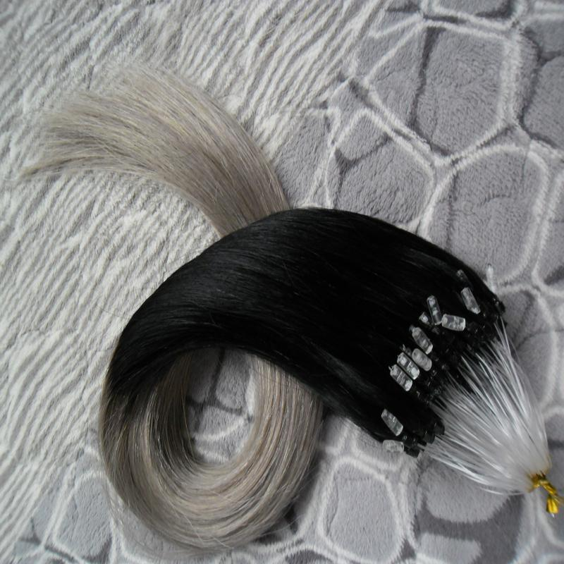 Wholesale Hair Human Extensions Loop 1bgrey Two Tone Ombre Micro