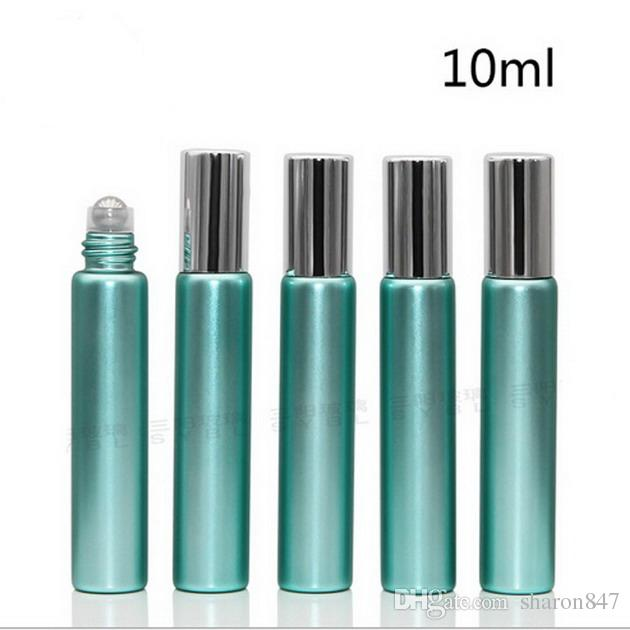 BY DHL 무료 배송 10ml의 1/3 온스 UV 유리 녹색 향수 ROLL ON 유리 병 에센셜 오일 철강 금속 롤러 볼 아로마 테라피