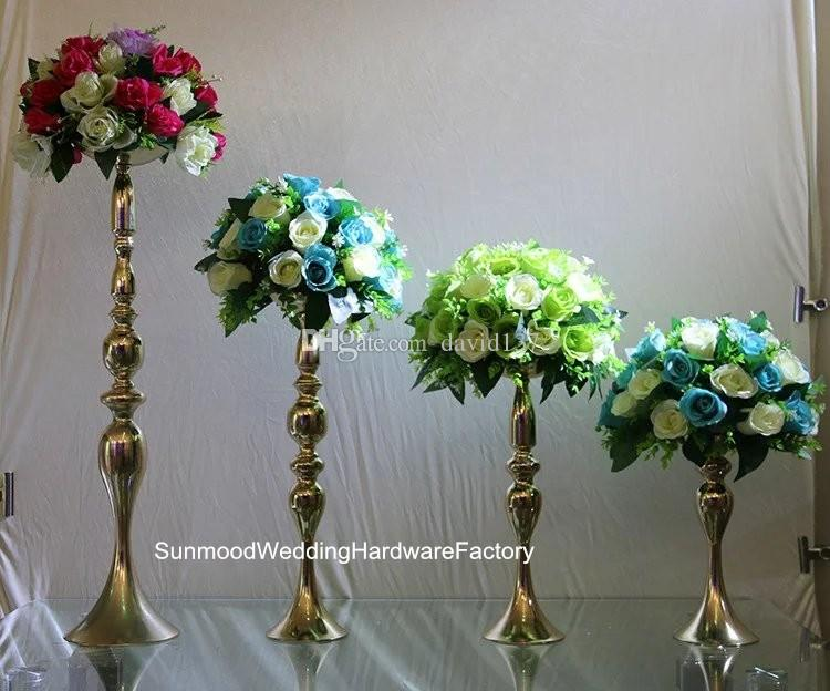 New Gold Iron Trumpet Vase For Wedding Centerpiece Mental Flower