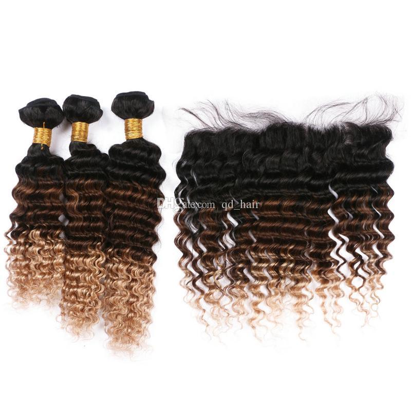 Honey Blonde Full Lace Frontal с глубоким вьющимся наращиванием волос Deep Wave 1B 4 27 Плетение волос с кружевной фронтальной