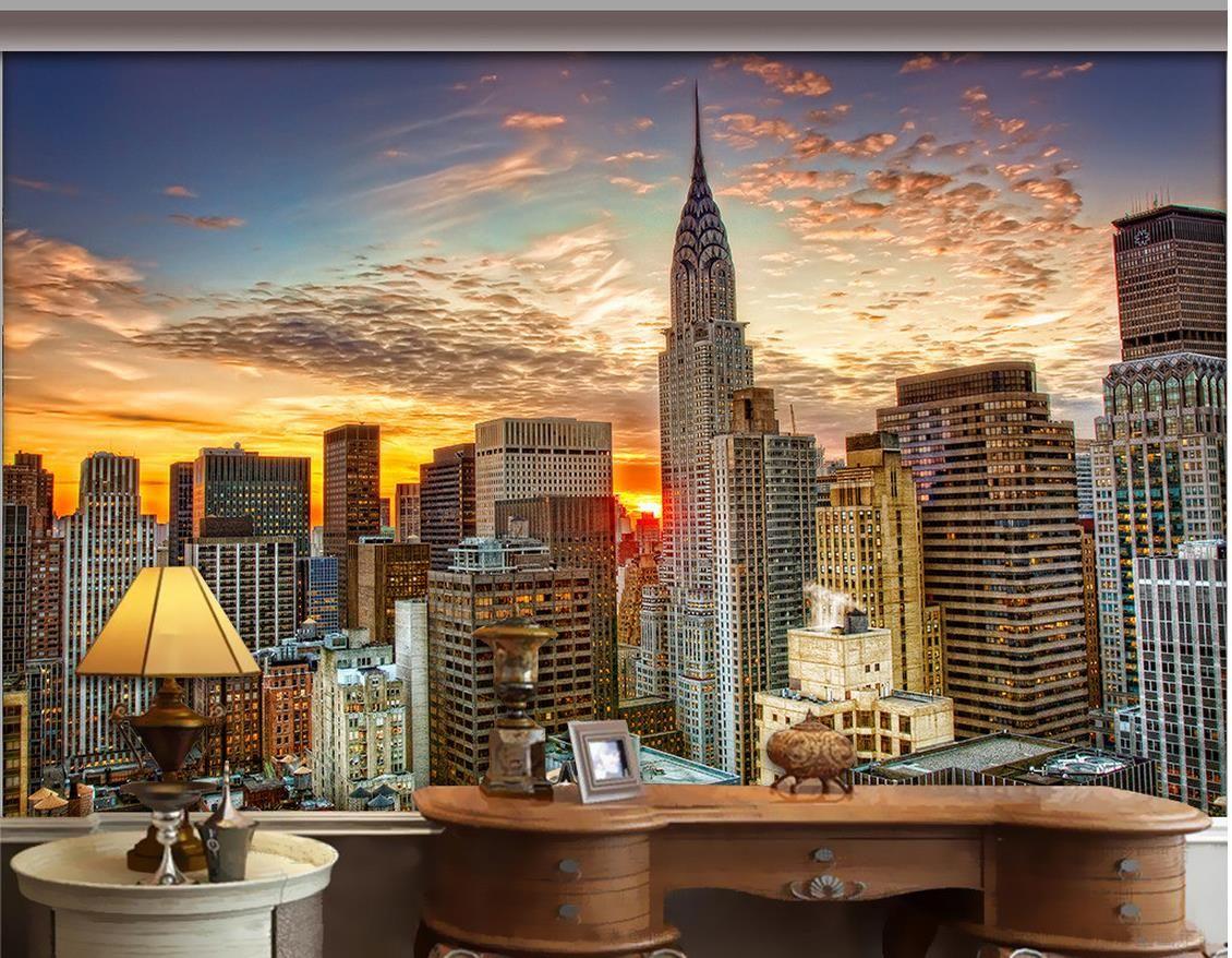 Luxury European Modern New York City Skyscraper Mural 3d