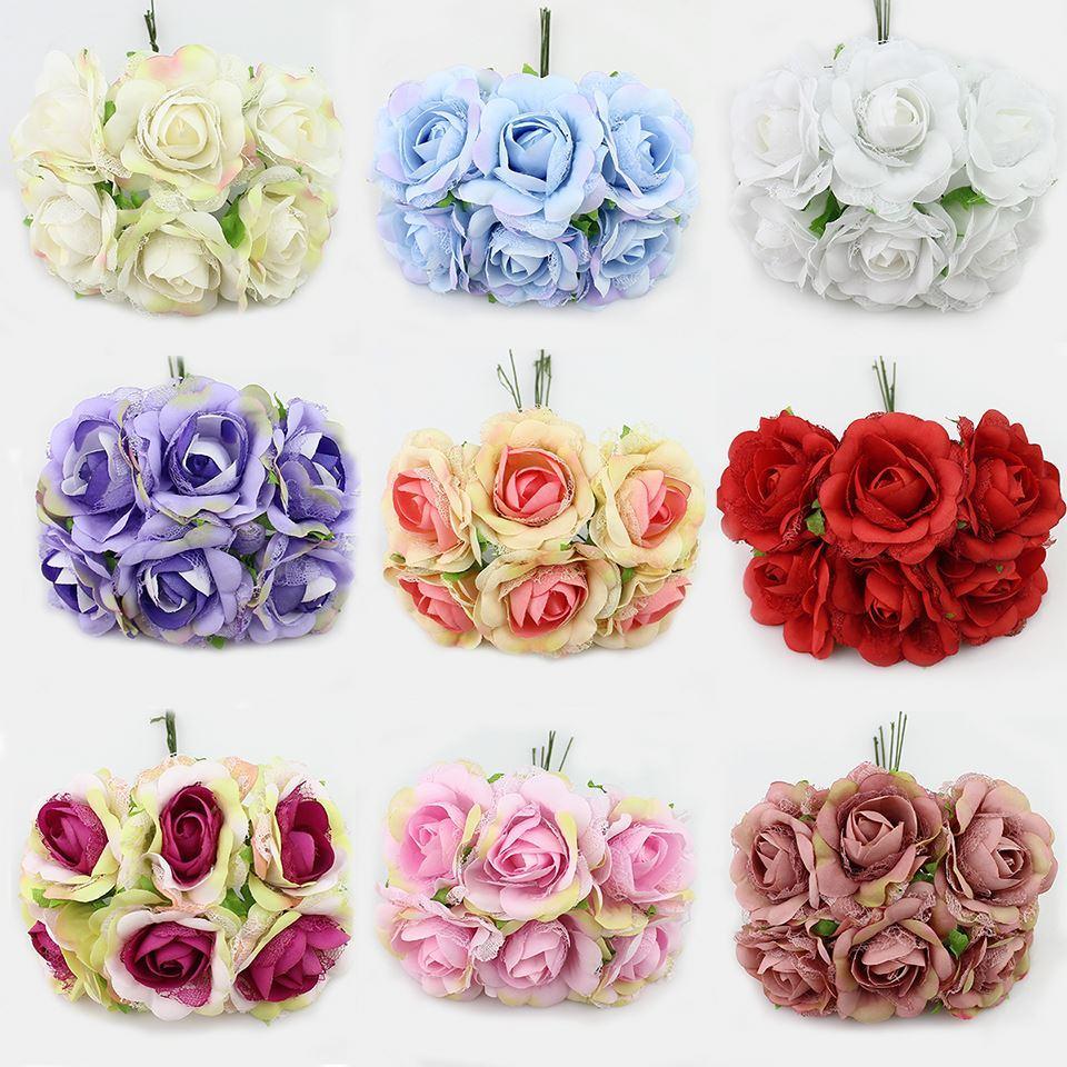 2018 6cm Silk Lace Artificial Rose Flowers Bouquet For Wedding