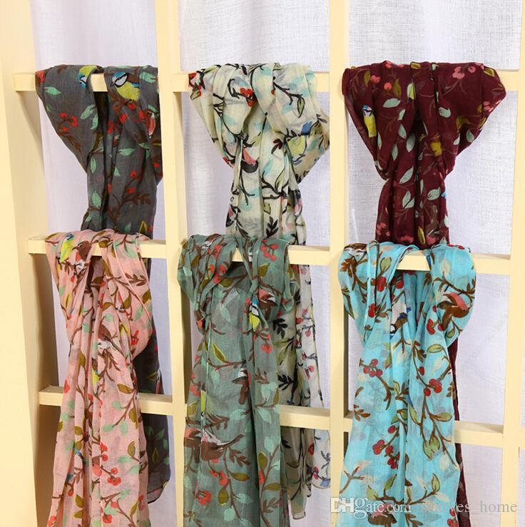 New Design Florial Voile Cotton Scarf light color Fashion Bird Tree Flower Print Circle Scarf Large Size Long Scaves Women infinity Scarfs
