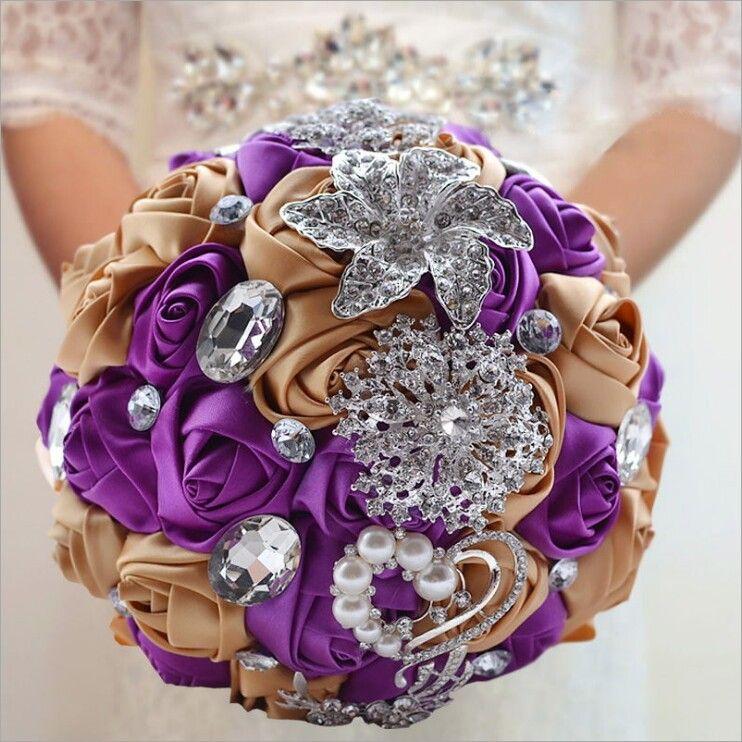 Purple Gold Satin Wedding Bridal Bouquet Simulation Flower