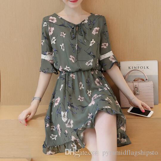 Femmes en mousseline de soie robes de robes printemps et en été nouvelle mode imprimé floral robe à volants mignon plus la taille dames vestidos mode
