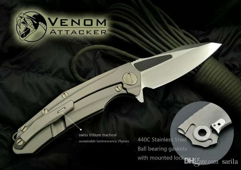 Кевин Джон яд нож атакующий M390 лезвие нож Титана углеродного волокна ручка охота выживания открытый ножи инструменты