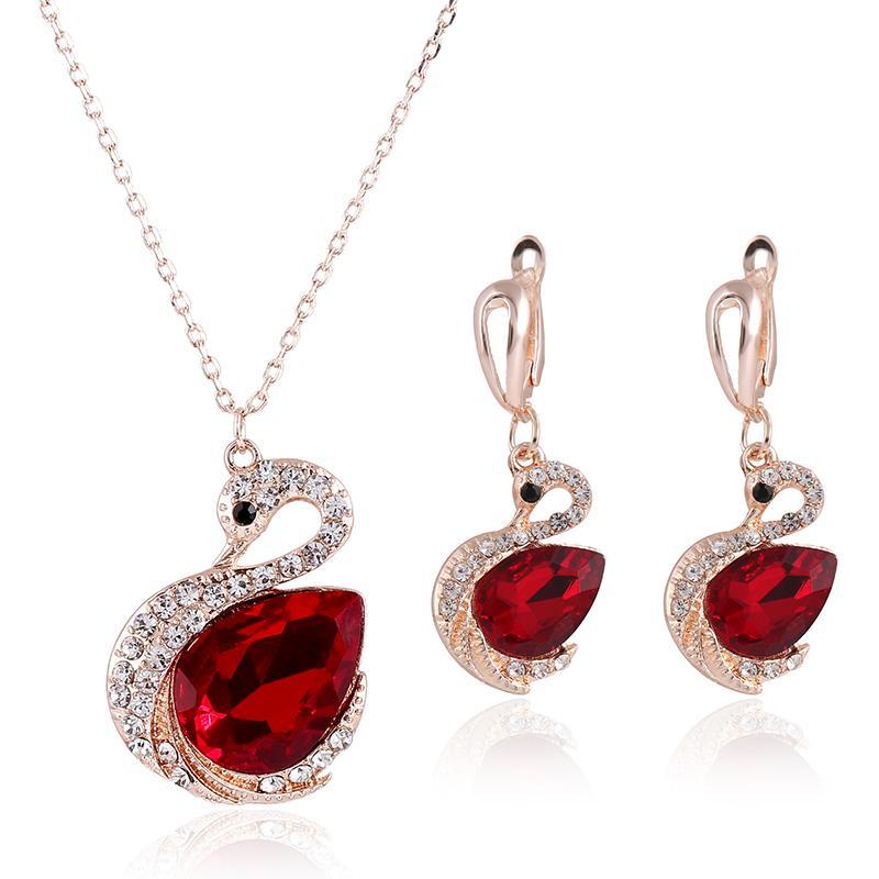 076b987b7cf Conjunto de colar de rubi venda quente faísca Swarovski elemento de cristal  Swan em forma de conjunto de jóias de casamento Moda brincos das mulheres  ...