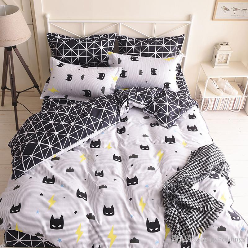 Quality Batman Mask Bedding Set Cartoon Black White Duvet
