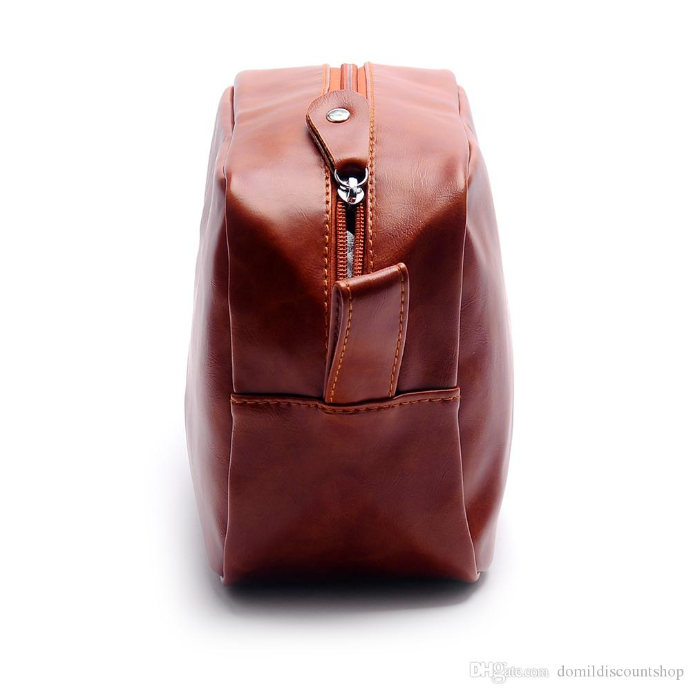 Wholesale Blanks PU Faux Leather Groom Bag Men's Shaving Bag travel toiltery pouch bags Solid Color Zipper Makeup Bag DOM137