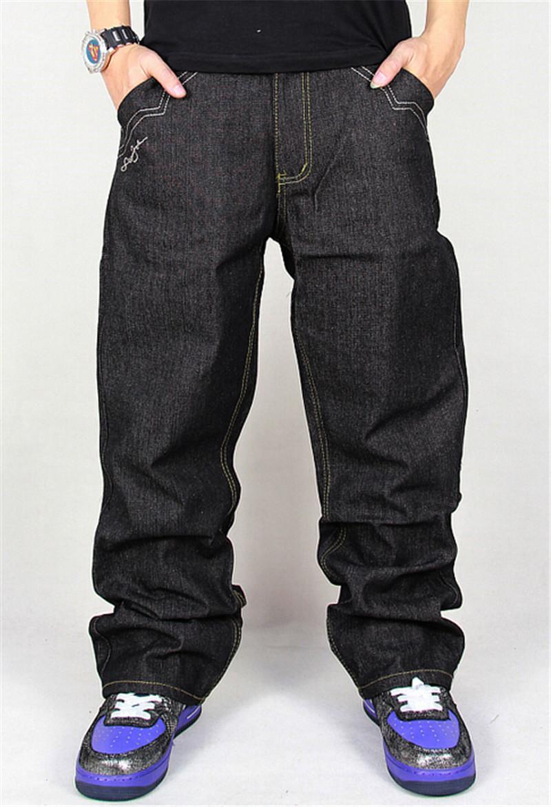 Compre Venta Al Por Mayor Jeans Hombres Baggy Black Casual Rap Jeans  Pantalones Sueltos Hip Hop Loose Style Hip Hop Jeans Para Niño Grande A   79.19 Del ... 42e3ccd5a2f