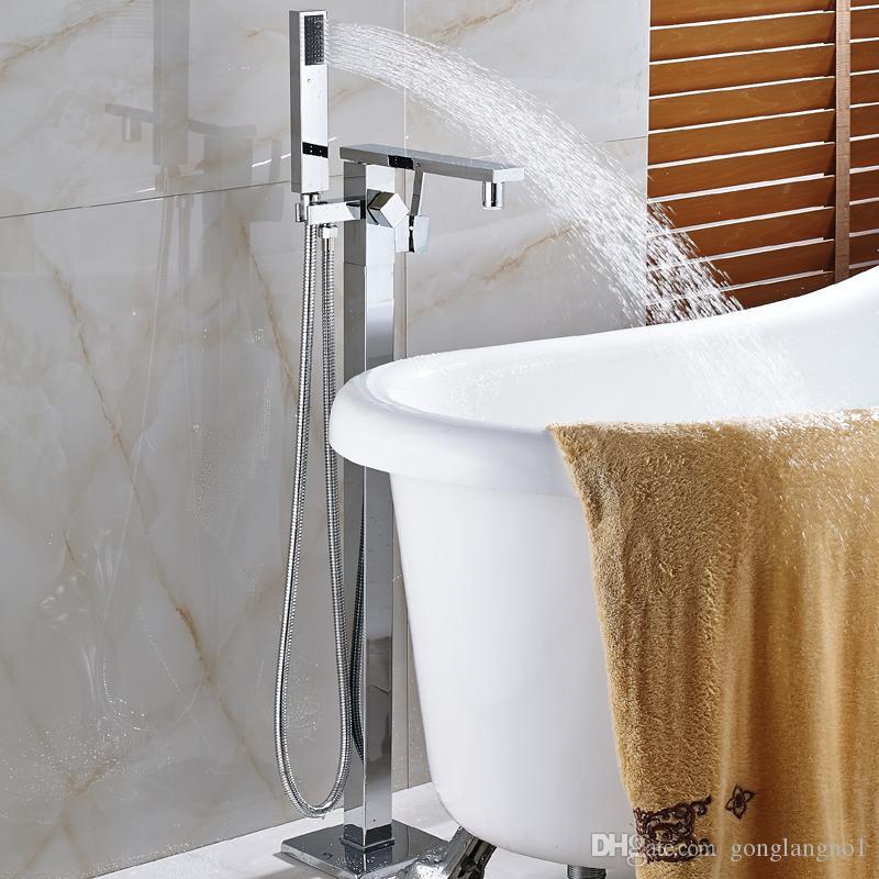 Новый Free Standing Водопад ванной кран Chrome смесителя W / ручной душ опрыскиватель