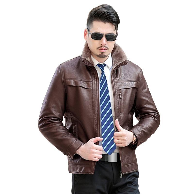Wholesale Men'S Winter Coat Men Casual Thicken Velet Warm Leather ...