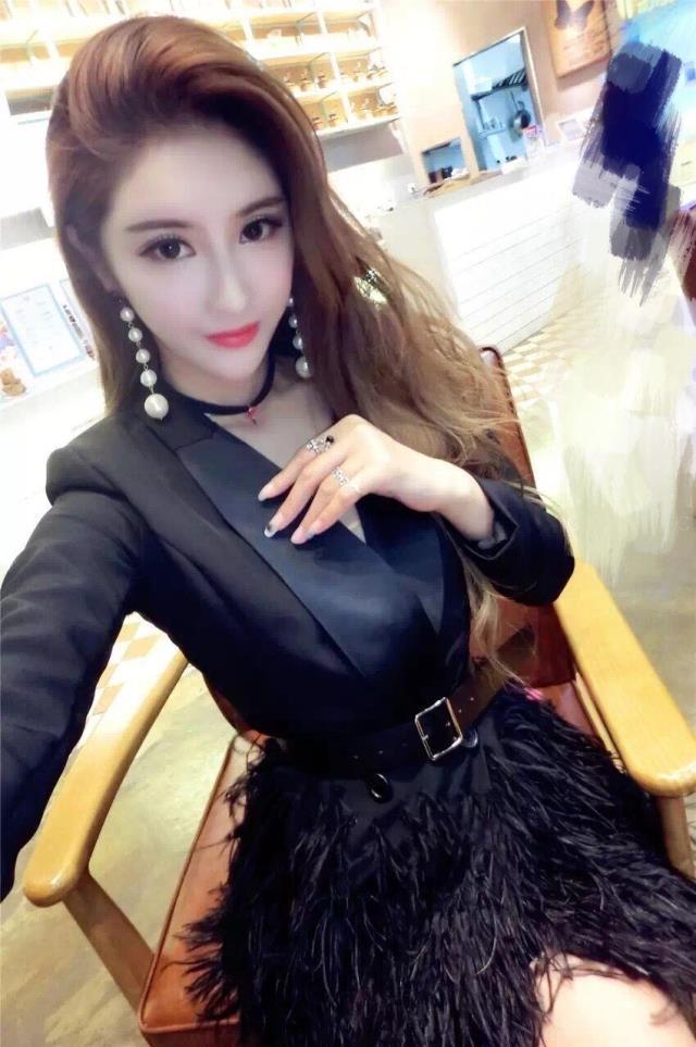 2017 new star same style women's sexy fashion long sleeve v-neck ostrich fur feather patchwork medium long blazer suit coat dress SMLXL
