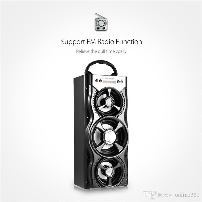 Новое Прибытие Открытый Портативный Беспроводной Bluetooth-динамики MS-220BT Eonec FM-Радио AUX ЖК-Экран LED Shinning TF Карта Воспроизведения Музыки