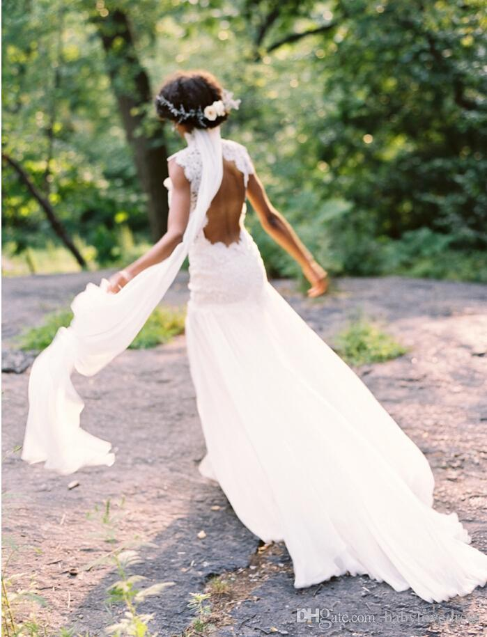High collar lace sexy open back spring wedding dresses cheap side split long sweep chiffon bridal dresses china