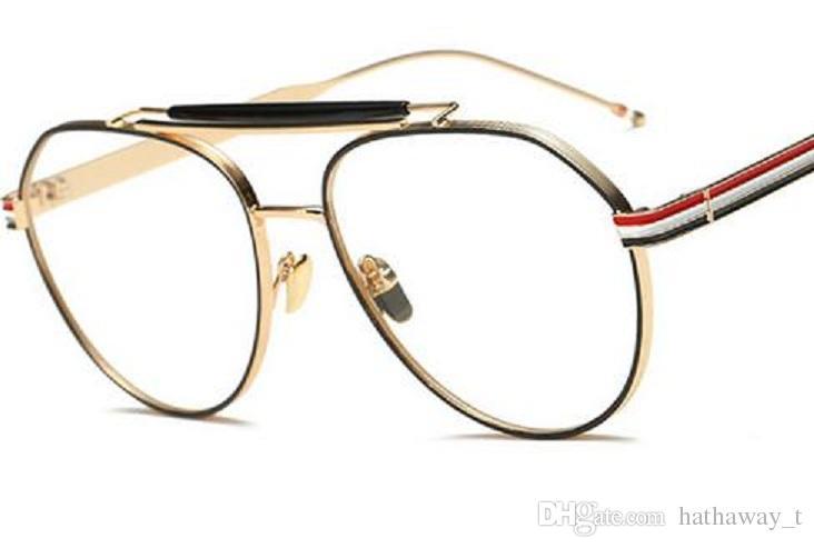 Women Big Frame Eyewear Metal Optical Frame Eyeglasses Clear Lens ...