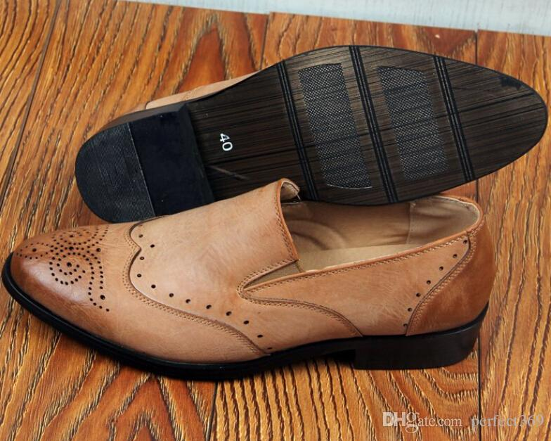 Zapatos de boda de los hombres de la nueva moda Hombres zapatos de cuero de diseño puntiagudo Hombres únicos zapatos casuales