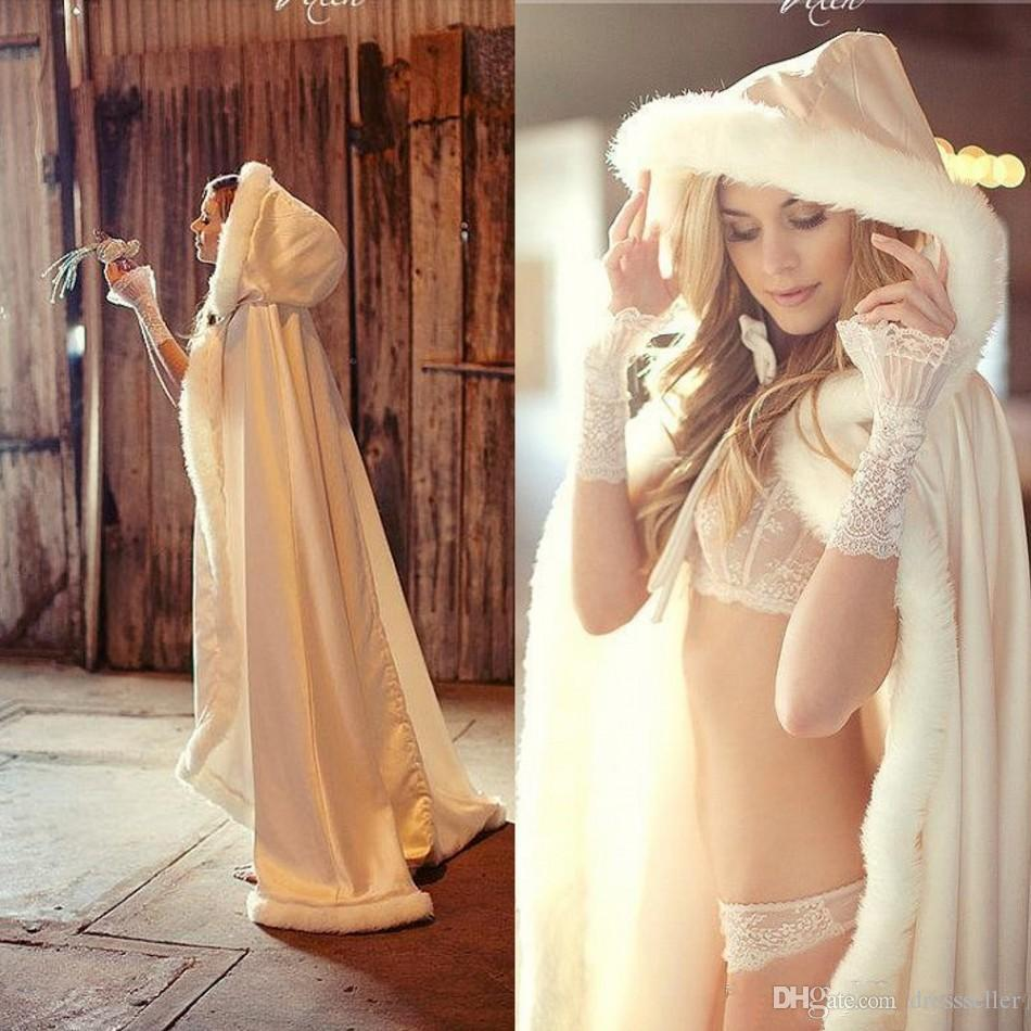 2017 Cheap Bridal Cape Ivory Stunning Wedding Cloaks Hooded with Faux Fur Trim Ankle Length Red White Perfect Long Wraps Jacket