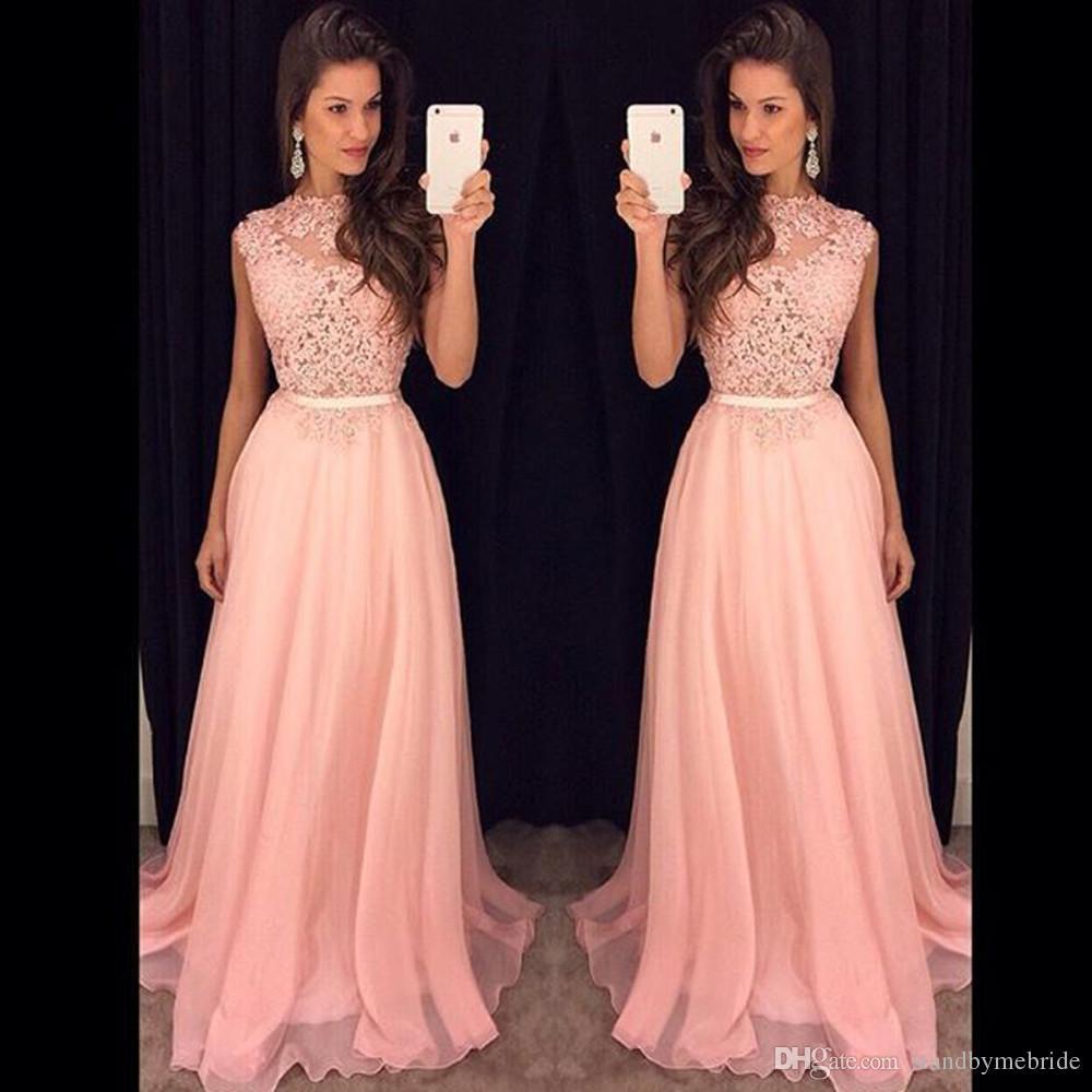2017 Long Prom Dresses Plus Size New Pink Chiffon Illusion Lace ...