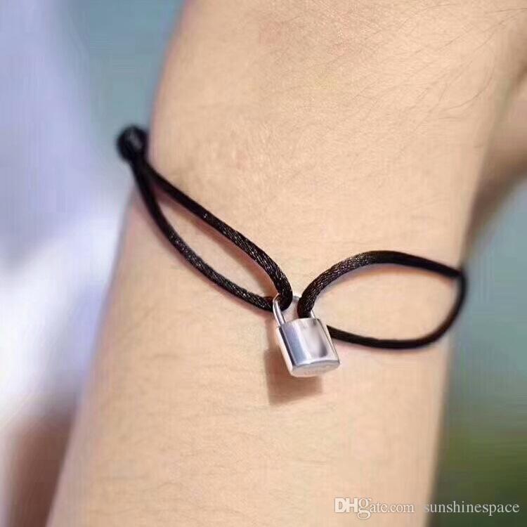 Novíssimo Mulheres amante Bangle Handmade corda ajustável Cadeia Charm Bracelet bloqueio pingente de aço inoxidável de titânio para o presente com letra