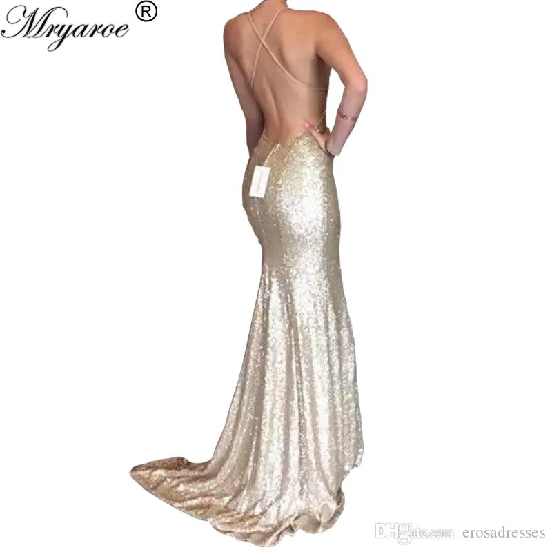 Sequin Prom Dress Champagne Strap