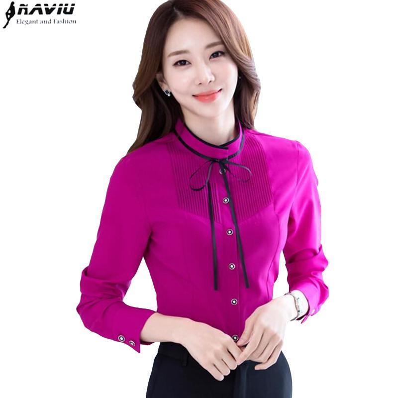 2018 Neue Temperament V Neck Shirt Frauen Hohe Qualität Chiffon Mode Lange Hülse Bluse Büro Formale Lose Plus Größe Tops Rot Blusen & Hemden